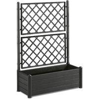 Fioriera rettangolare con grata porta vaso separè divisorio in plastica nera
