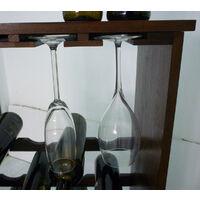 Mobile porta bottiglie bicchieri cantinetta vino in legno di bambù scuro noce marrone 16 posti con porta bicchieri e ripiano per enoteca cantina salotto portabottiglie porta flute calice ballon