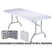 Tavoli In Resina Pieghevoli.Tavolo Pieghevole In Resina 183x76x72cm Metallo Richiudibile A