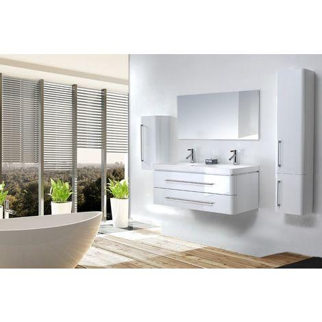 Meuble salle de bain double vasque 120 cm, 2 colonnes, EMY BLANC