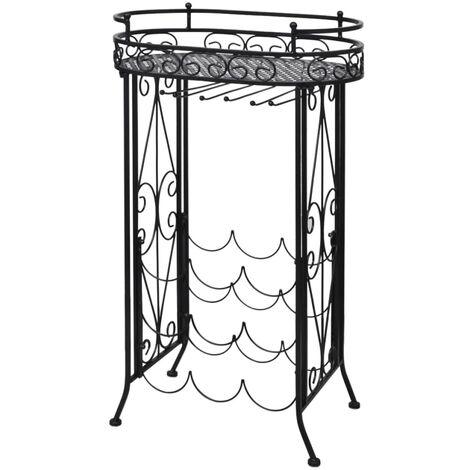 Weinregal für 9 Flaschen mit Stielglashalter Metall