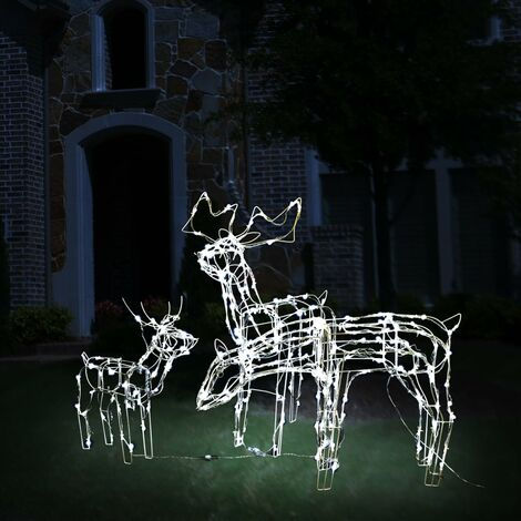 Rentier Figur mit LED Beleuchtung Weihnachtsdeko groß 80 LED Batterie innen 65cm