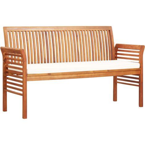 3 Sitzer Gartenbank Mit Kissen 150 Cm Massivholz Akazie