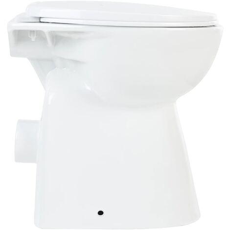 vidaXL Hohe Toilette Spülrandlos Soft-Close 7cm Höher Keramik Schwarz Stand WC
