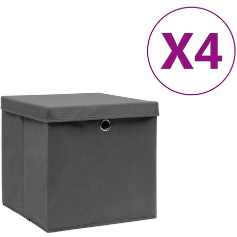 Aufbewahrungsboxen mit Deckeln 4 Stk. 28x28x28 cm Grau