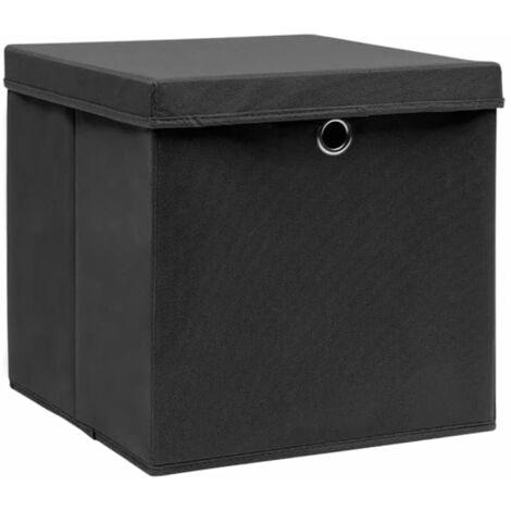 Aufbewahrungsboxen mit Deckeln 4 Stk. 28x28x28 cm Schwarz