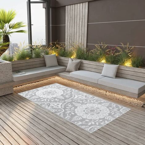 Outdoor-Teppich Hellgrau 120x180 cm PP
