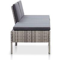 3-tlg. Garten-Lounge-Set mit Auflagen Poly Rattan Grau