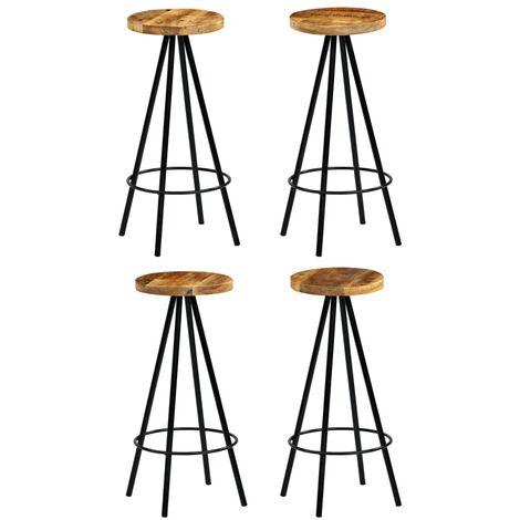 vidaXL Bar Chairs Solid Mango Wood 4 pcs - Brown