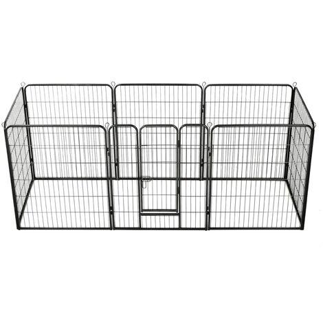 vidaXL Dog Playpen Steel Black 80x100 cm 8 Panels - Black