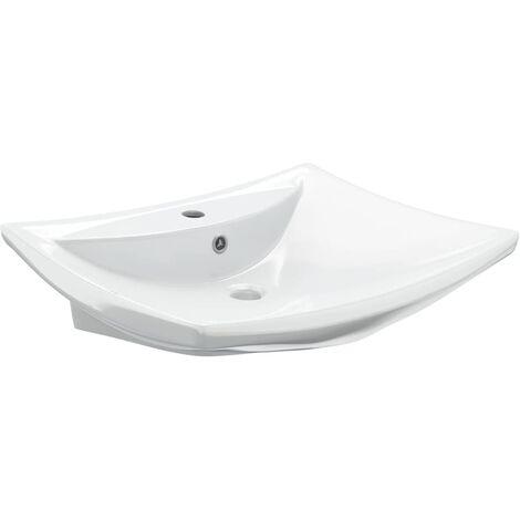 Luxury Ceramic Basin Rectangular with Overflow & Faucet Hole - White