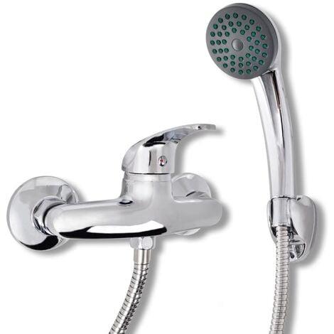 vidaXL Bath Shower Mixer Tap Kit Chrome - Silver