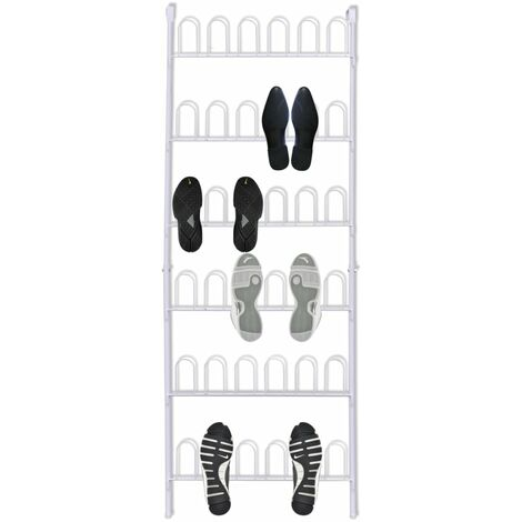 White Steel Shoe Rack for 18 Pairs of Shoes - White