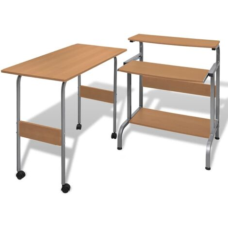 vidaXL 2 Piece Computer Desk with Pull-out Keyboard Tray Brown - Brown