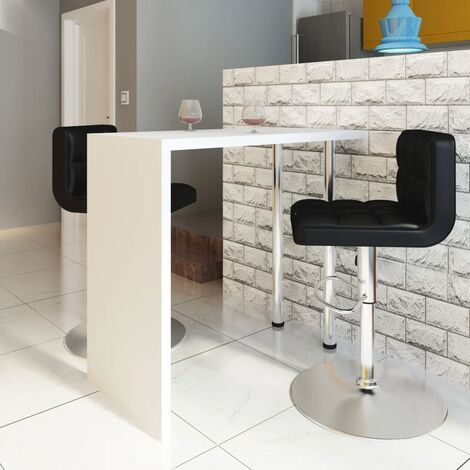vidaXL Bar Table MDF with 2 Steel Legs High Gloss White - White