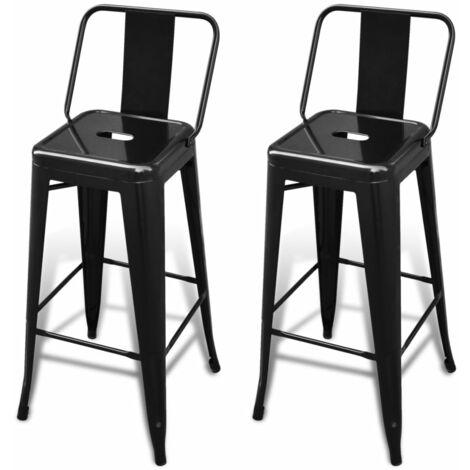 vidaXL Bar Stools 2 pcs Steel Black - Black