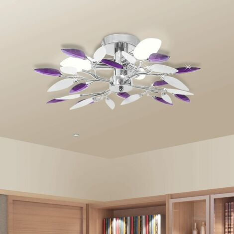 Ceiling Lamp Acrylic Crystal Leaf Arms 3 E14 Bulbs White & Purple - Multicolour