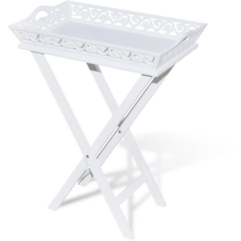 vidaXL Side Table with Tray White - White
