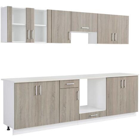 vidaXL Kitchen Cabinet Unit 8 Pieces Oak Look - Brown
