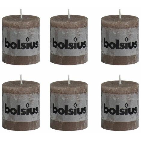Bolsius Rustic Pillar Candle 80 x 68 mm Light Brown 6 pcs - Brown