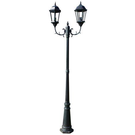 vidaXL Garden Light Post 2-arms 230 cm Dark Green/Black Aluminium - Green