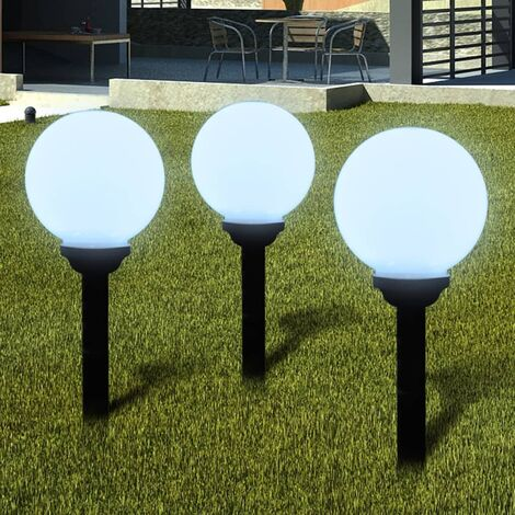 Outdoor Path Garden Solar Lamp Path Light LED 20cm 3pcs Ground Spike - White