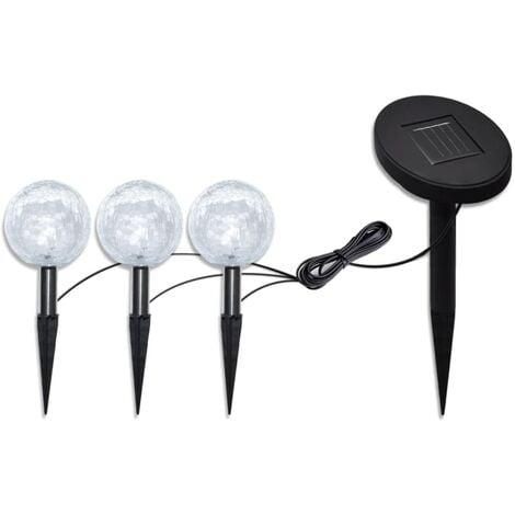 Solar Bowl 3 LED Garden Lights with Spike Anchors & Solar Panel - White