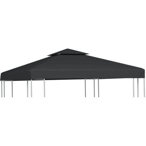 vidaXL Gazebo Cover Canopy Replacement 310 g / m² Dark Grey 3 x 3 m - Grey