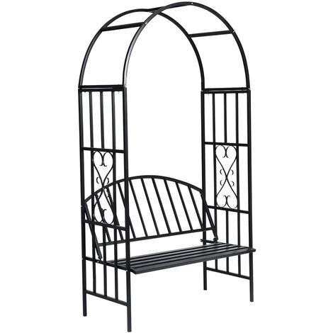 vidaXL Garden Rose Arch with Bench - Black