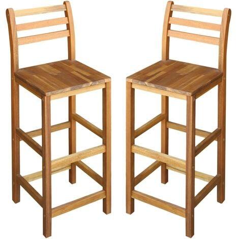 vidaXL Bar Chairs 2 pcs Solid Acacia Wood - Brown