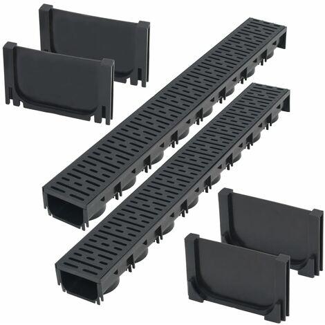 vidaXL Drainage Channels Plastic 2 m