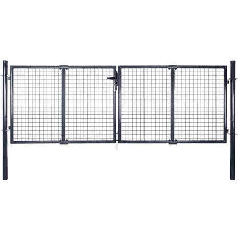 vidaXL Mesh Garden Gate Galvanised Steel Grey 289x75 cm - Grey