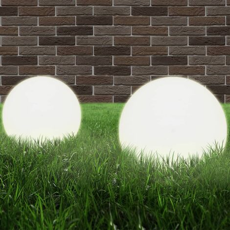 vidaXL LED Bowl Lamps 2 pcs Spherical 25 cm PMMA - White