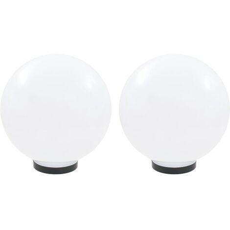 vidaXL LED Bowl Lamps 2 pcs Spherical 30 cm PMMA - White