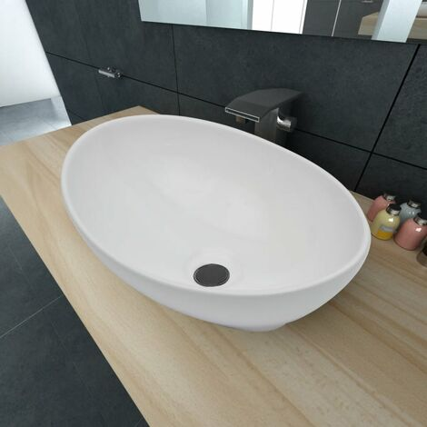 vidaXL Luxury Ceramic Basin Oval-shaped Sink 40 x 33 cm White - White