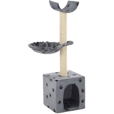 vidaXL Cat Tree with Sisal Scratching Posts 105 cm Paw Prints Grey - Grey