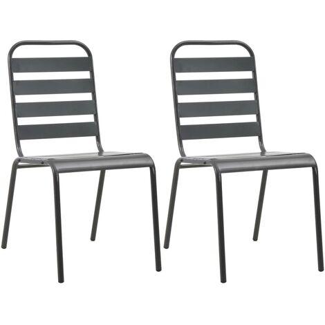vidaXL Stackable Outdoor Chairs 2 pcs Steel Grey - Grey