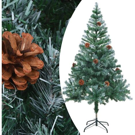 vidaXL Frosted Christmas Tree with Pinecones 150 cm - Green
