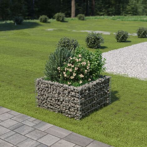 vidaXL Gabion Raised Bed Galvanised Steel 90x90x50 cm - Silver