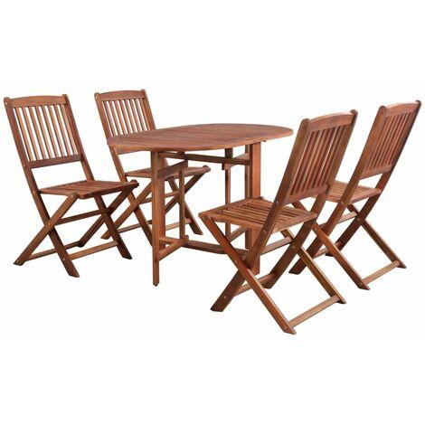 vidaXL 5 Piece Folding Outdoor Dining Set Solid Acacia Wood - Brown