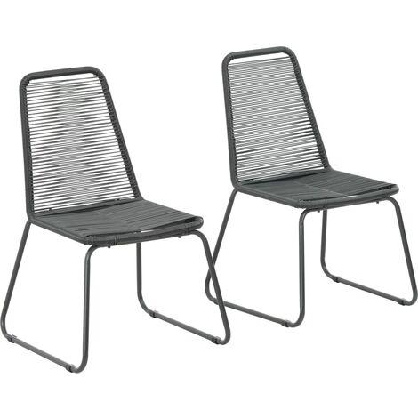 vidaXL Outdoor Chairs 2 pcs Poly Rattan Black - Black