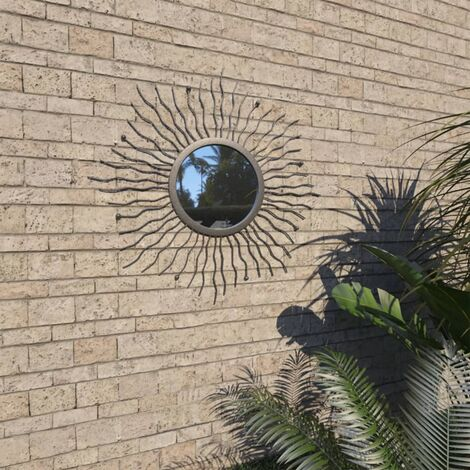 vidaXL Garden Wall Mirror Sunburst 60 cm Black - Black