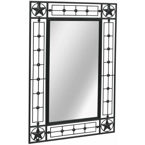 vidaXL Garden Wall Mirror Rectangular Black 50x80 cm - Black