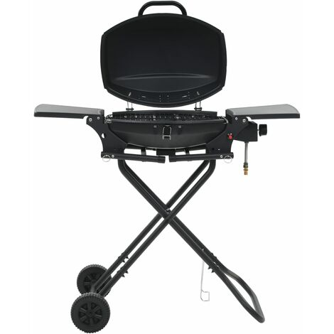 vidaXL Portable Gas BBQ Grill with Cooking Zone Black - Black