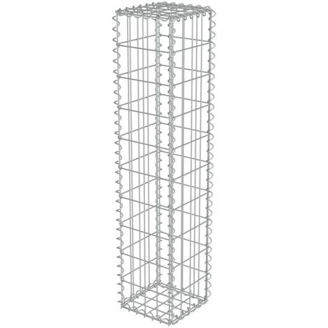 vidaXL Gabion Wall with Covers Galvanised Steel 20x20x100 cm - Silver