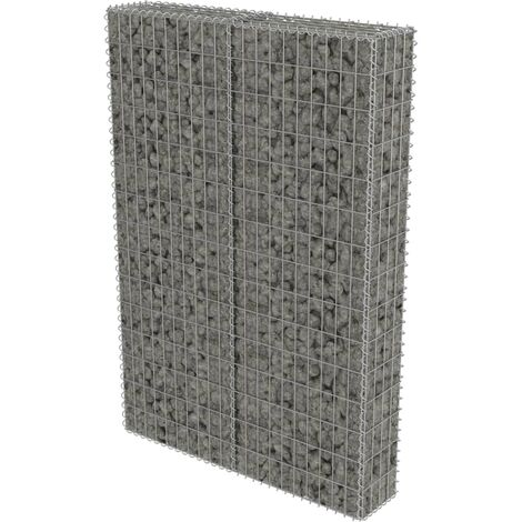 vidaXL Gabion Wall with Covers Galvanised Steel 100x20x150 cm - Silver