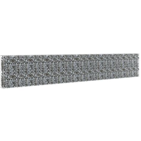 vidaXL Gabion Wall with Covers Galvanised Steel 600x30x100 cm - Silver