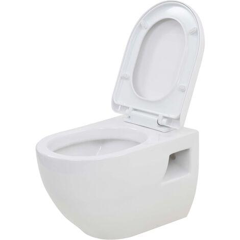 vidaXL Wall-Hung Toilet Ceramic White - White