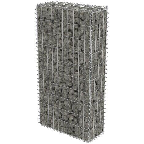 vidaXL Gabion Wall with Covers Galvanised Steel 50x20x100 cm - Silver