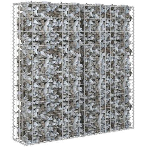 vidaXL Gabion Wall with Covers Galvanised Steel 80x20x100 cm - Silver